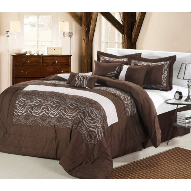 Zebra Brown & White 8-Piece Comforter Set